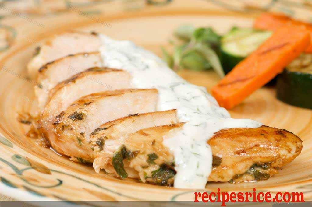 chilled chicken with dill sauce