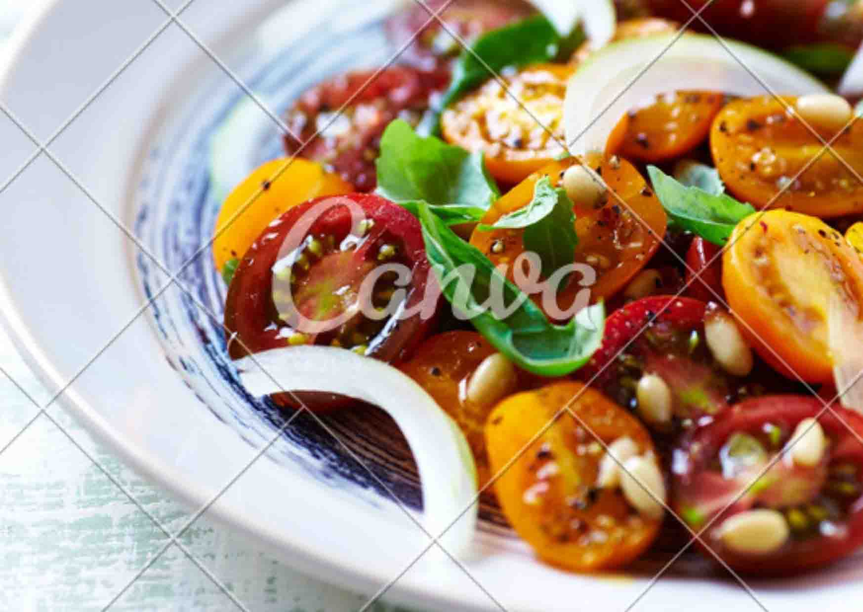 cherry tomatoes with pine nut basil dressing