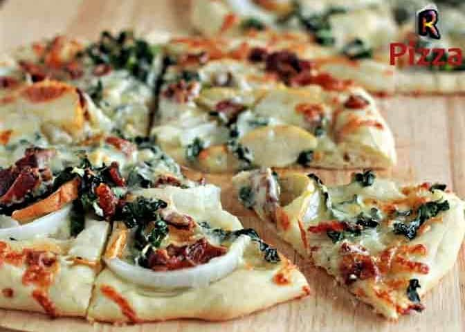Gorgonzola Kale and Pear Pizza with Bacon